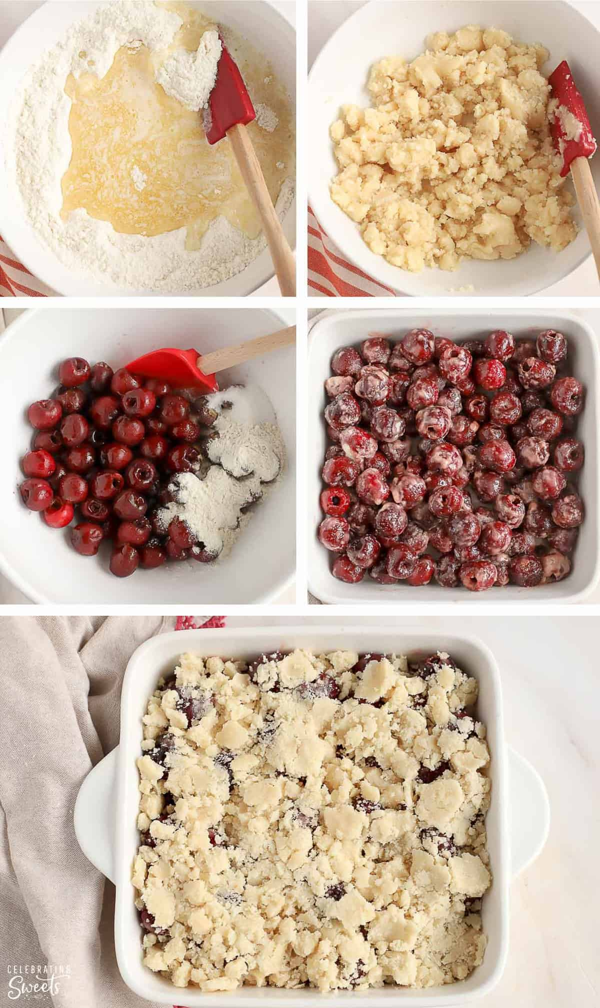 Cherry cobbler step by step recipe photo collage: cobbler topping in a bowl, cherry filling in a bowl, uncooked cobbler in a baking dish.