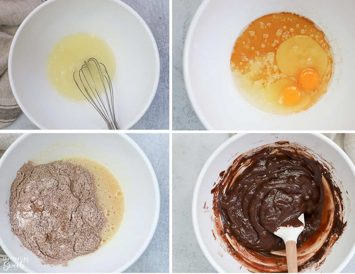 Step by step collage of how to make brownies. Brownie batter in a white bowl.