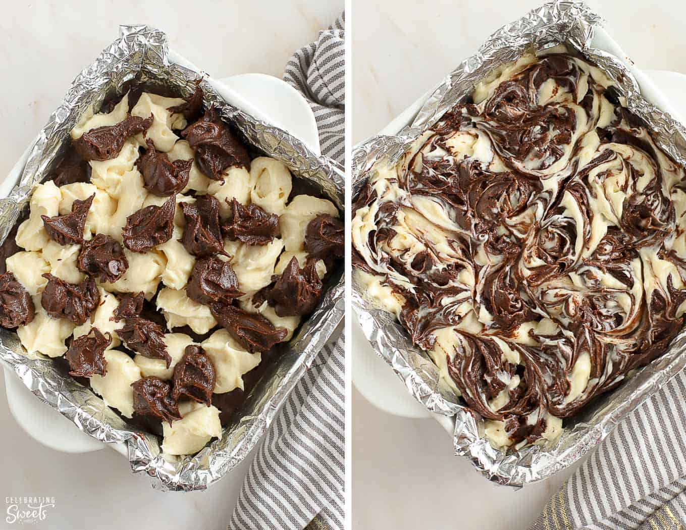 Swirls of cream cheese and brownie batter in a foil-lined baking pan.