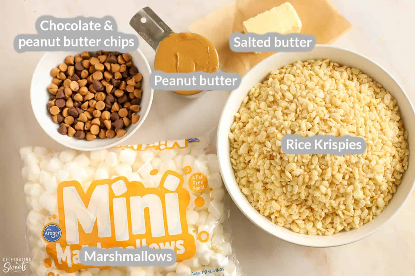Ingredients for peanut butter rice krispies treats: rice krispies, marshmallows, peanut butter, butter, chocolate chips.