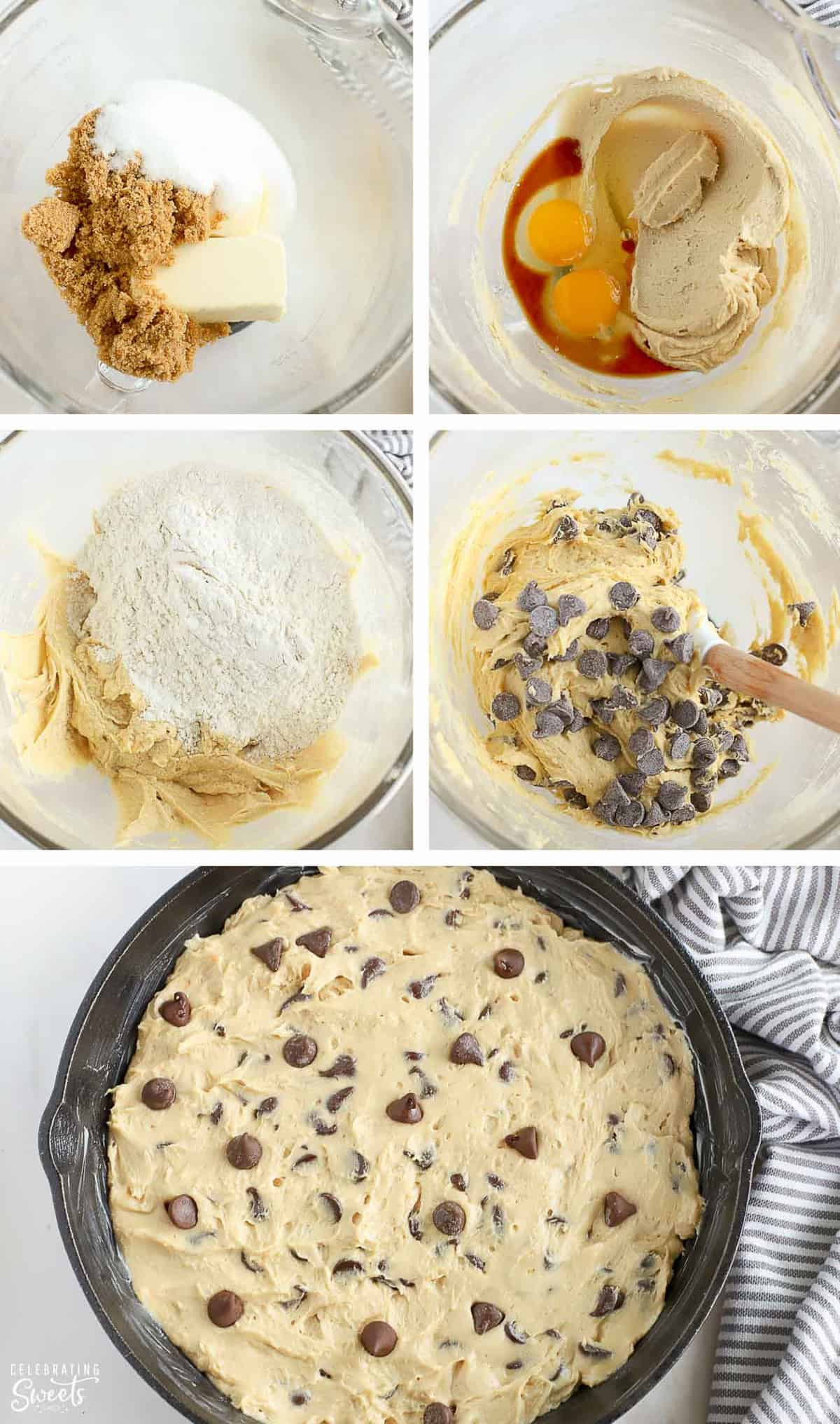 Skillet cookie dough in a large bowl and pressed into a cast iron skillet.