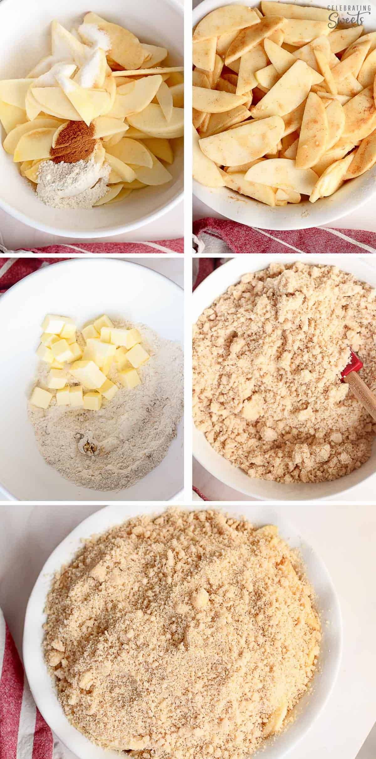Collage how to make apple crumble: apples in a bowl, crumb topping in a bowl, apple crumble assembled in baking dish.