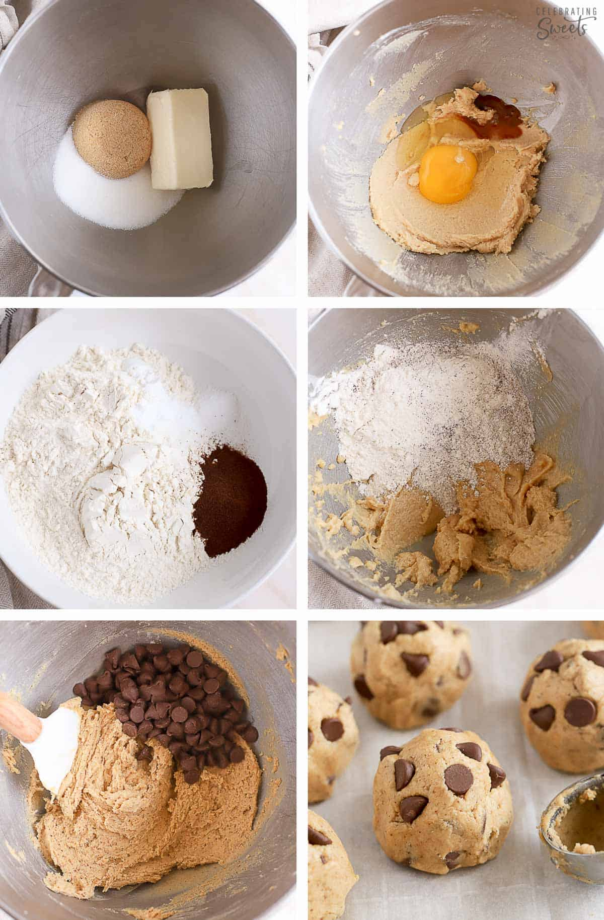 Collage of espresso chocolate chip cookie dough in a metal bowl and scooped onto a baking sheet.