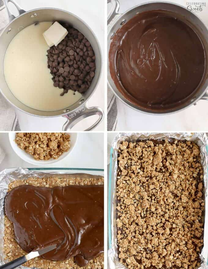 Step by step collage how to make Oatmeal Fudge Bars. Melted chocolate in a saucepan and spread on top of oatmeal crust.