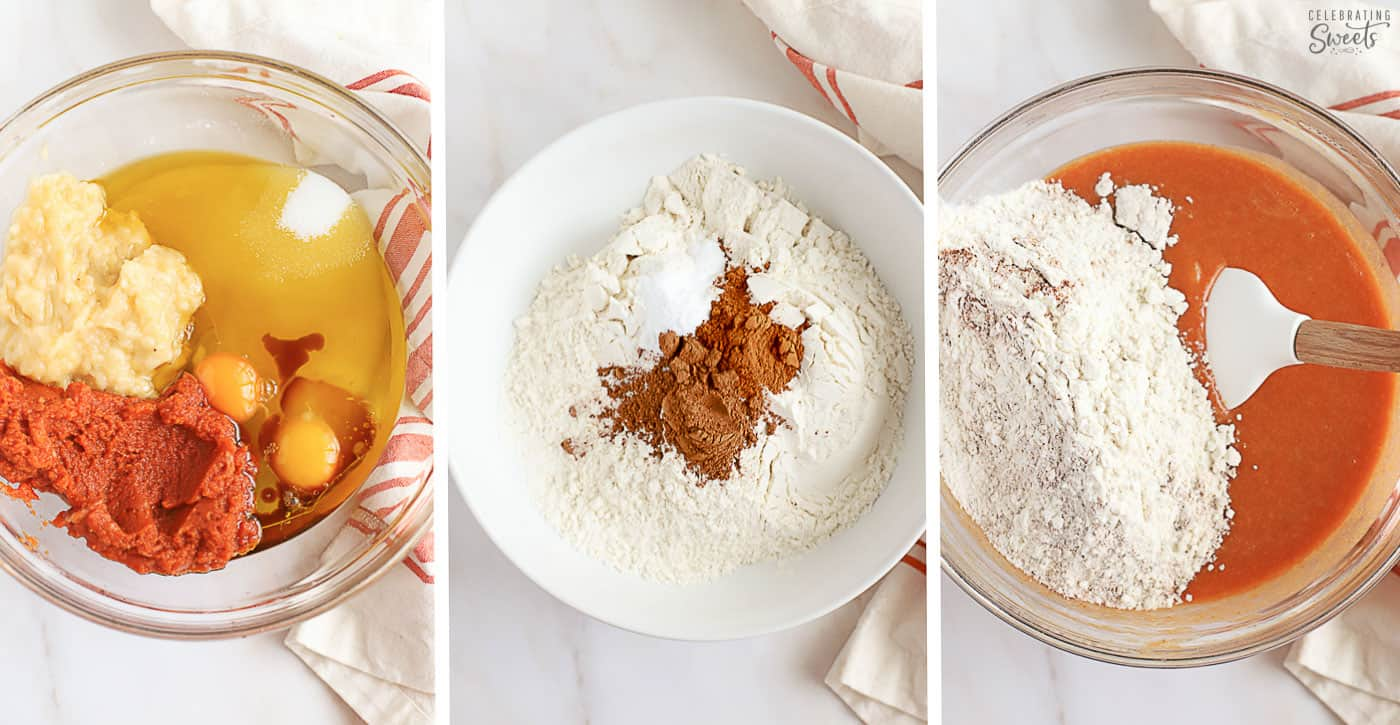 Collage of how to make pumpkin banana bread. Bread batter in a large bowl with a white rubber spatula.