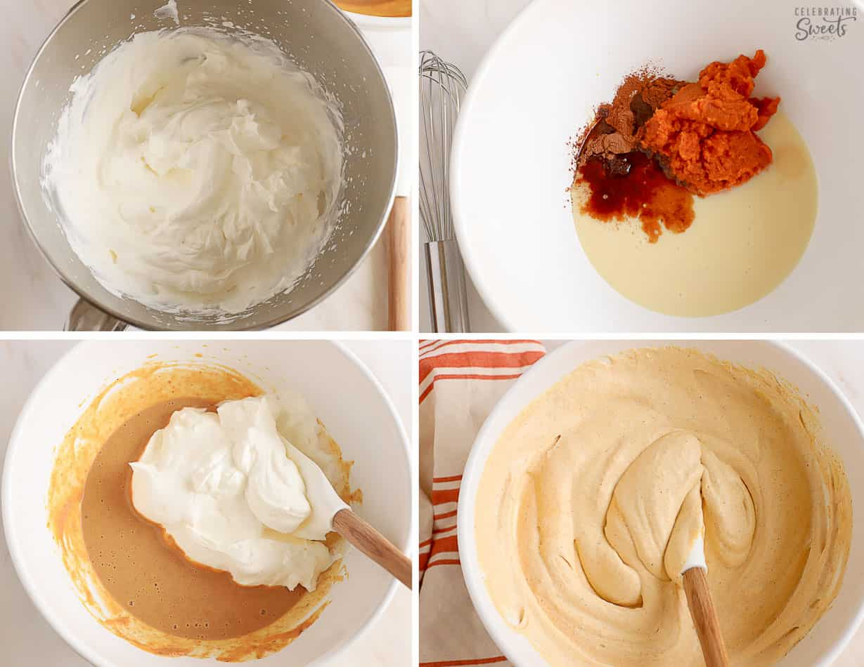 Step by step how to make pumpkin ice cream - pumpkin ice cream base in a large white bowl.
